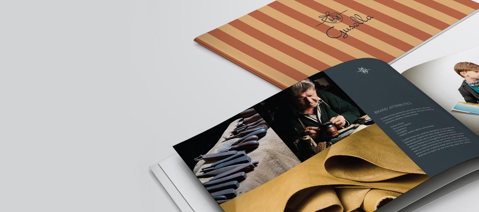Brand book design for a kids shoe brand